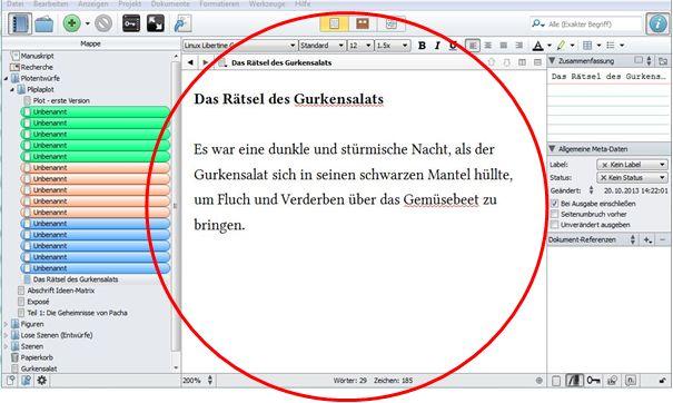 Ansicht des Editors im Schreibprogramm Scrivener