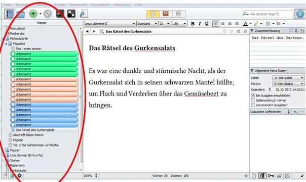 Ansicht der Mappe (Binder) im Schreibprogramm Scrivener