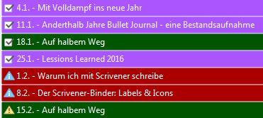 Farbige Labels in Scrivener