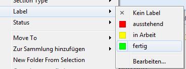 Labels im Ampelschema, um Projektfortschritt in Scrivener zu zeigen
