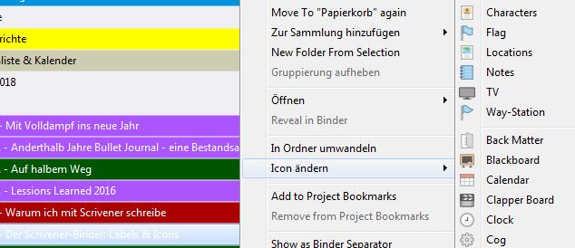 Icons in Scrivener ändern